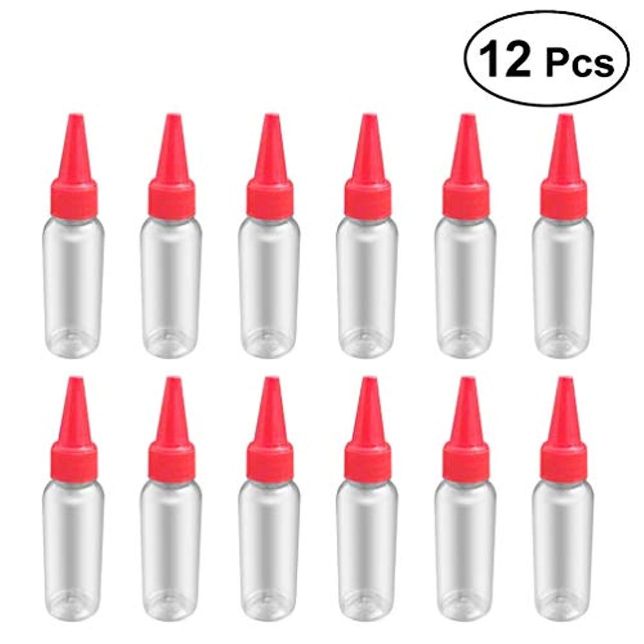 一過性僕の雑多なSUPVOX 12ピース プラスチック アプリケーターボトル スクイズフロー デザイン チップキャップ 空ボトル 用液体 オイルグルー ディスペンサー ヘアカラー 40ml(赤)