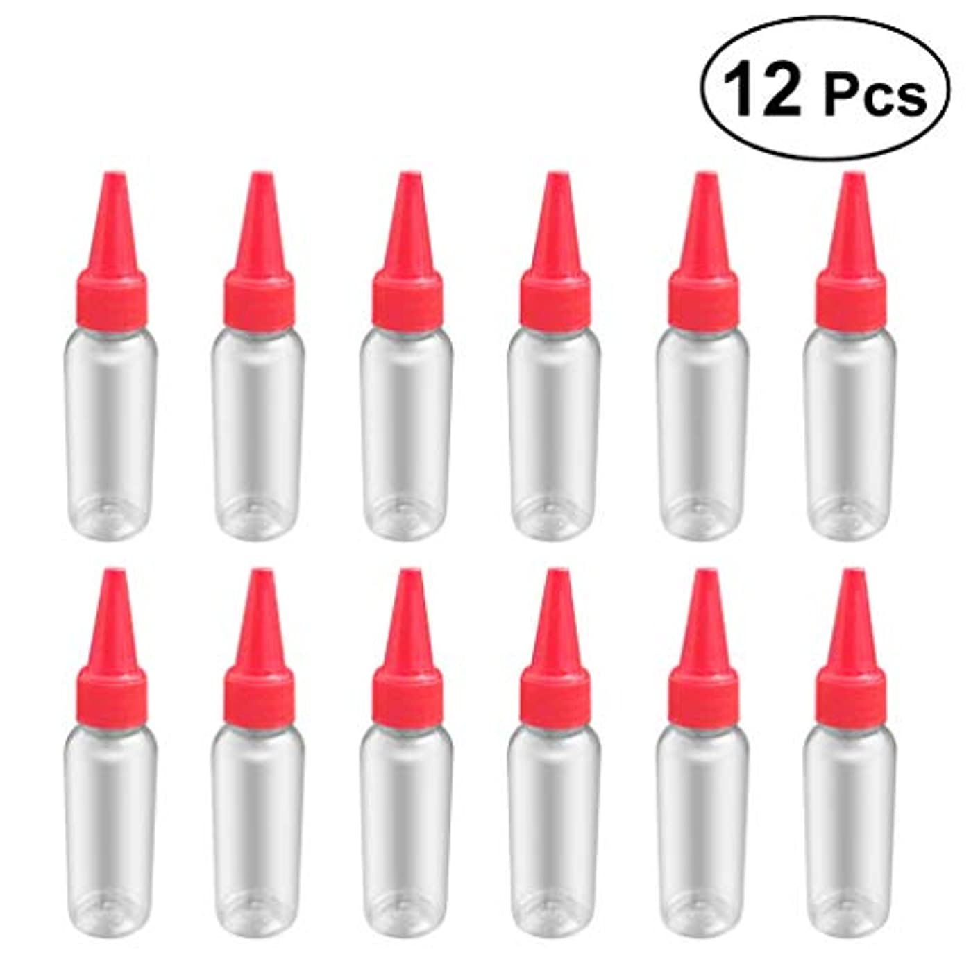 勧告慎重に間違いSUPVOX 12ピース プラスチック アプリケーターボトル スクイズフロー デザイン チップキャップ 空ボトル 用液体 オイルグルー ディスペンサー ヘアカラー 40ml(赤)