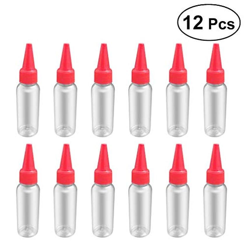 ペインティング論争的閲覧するSUPVOX 12ピース プラスチック アプリケーターボトル スクイズフロー デザイン チップキャップ 空ボトル 用液体 オイルグルー ディスペンサー ヘアカラー 40ml(赤)