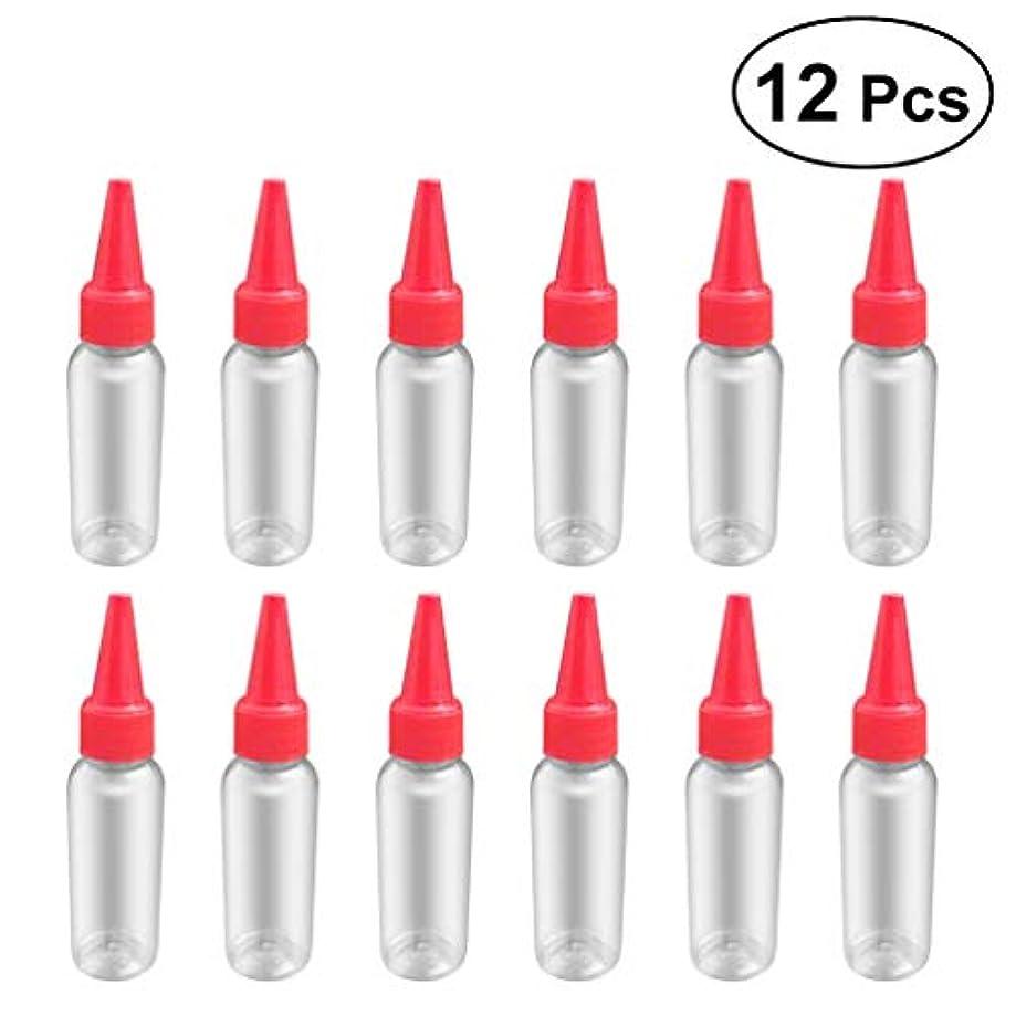 六分儀マークダウン繰り返しSUPVOX 12ピース プラスチック アプリケーターボトル スクイズフロー デザイン チップキャップ 空ボトル 用液体 オイルグルー ディスペンサー ヘアカラー 40ml(赤)