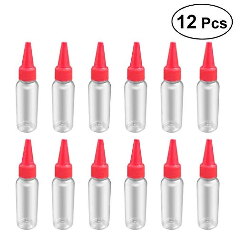願望ひばりわかるSUPVOX 12ピース プラスチック アプリケーターボトル スクイズフロー デザイン チップキャップ 空ボトル 用液体 オイルグルー ディスペンサー ヘアカラー 40ml(赤)