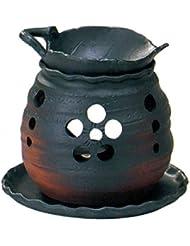 常滑焼 創器 ゆとり 茶香炉 径:13.2cm 高さ:11.5cm 木の葉の皿付 サ39-10