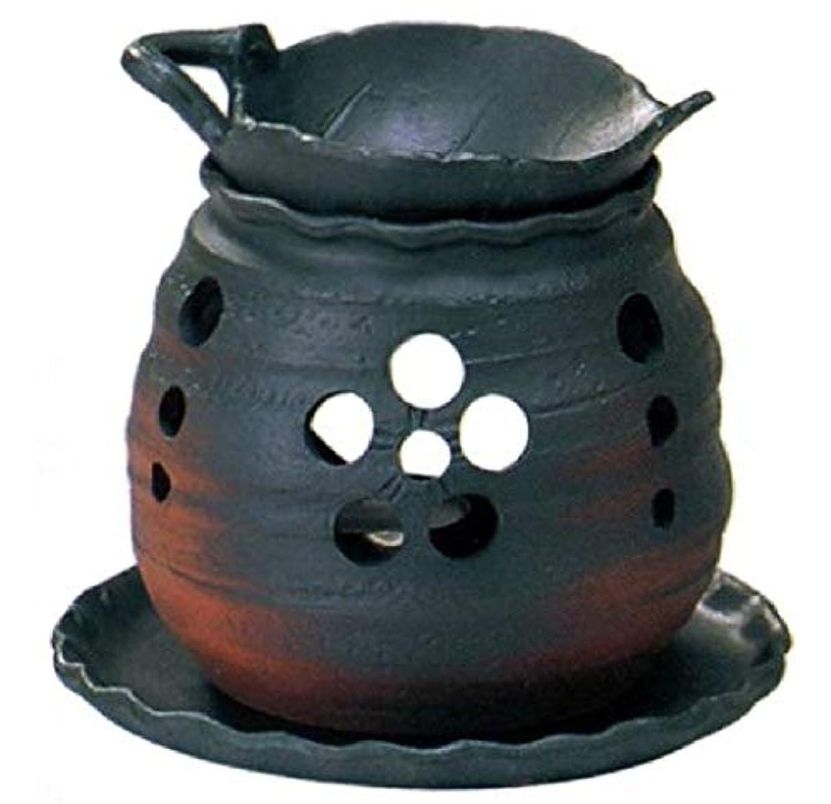 動物お手入れ有彩色の常滑焼 創器 ゆとり 茶香炉 径:13.2cm 高さ:11.5cm 木の葉の皿付 サ39-10