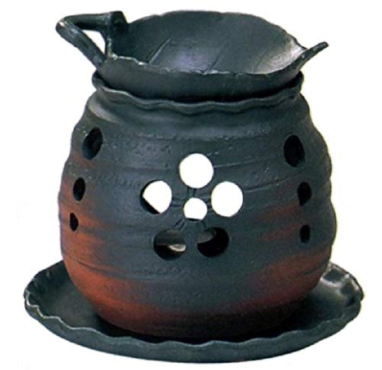 ネクタイスーパー自分のために常滑焼 ?39-05 茶香炉ゆとり 木の葉 皿付   ロウソク1ヶ付 径13.2×11.5