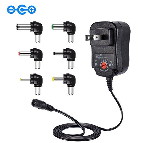 Punasi チャージャー 3V-12V 電圧調整 変換プラグ ユニバーサル AC充電器 ACアダプター DCアダプター メデラ パンプ スピーカー LEDライト ルーター ケーブルセット (12w) コネクタの極性:インナープラス(+)、アウターマイナス(ー)