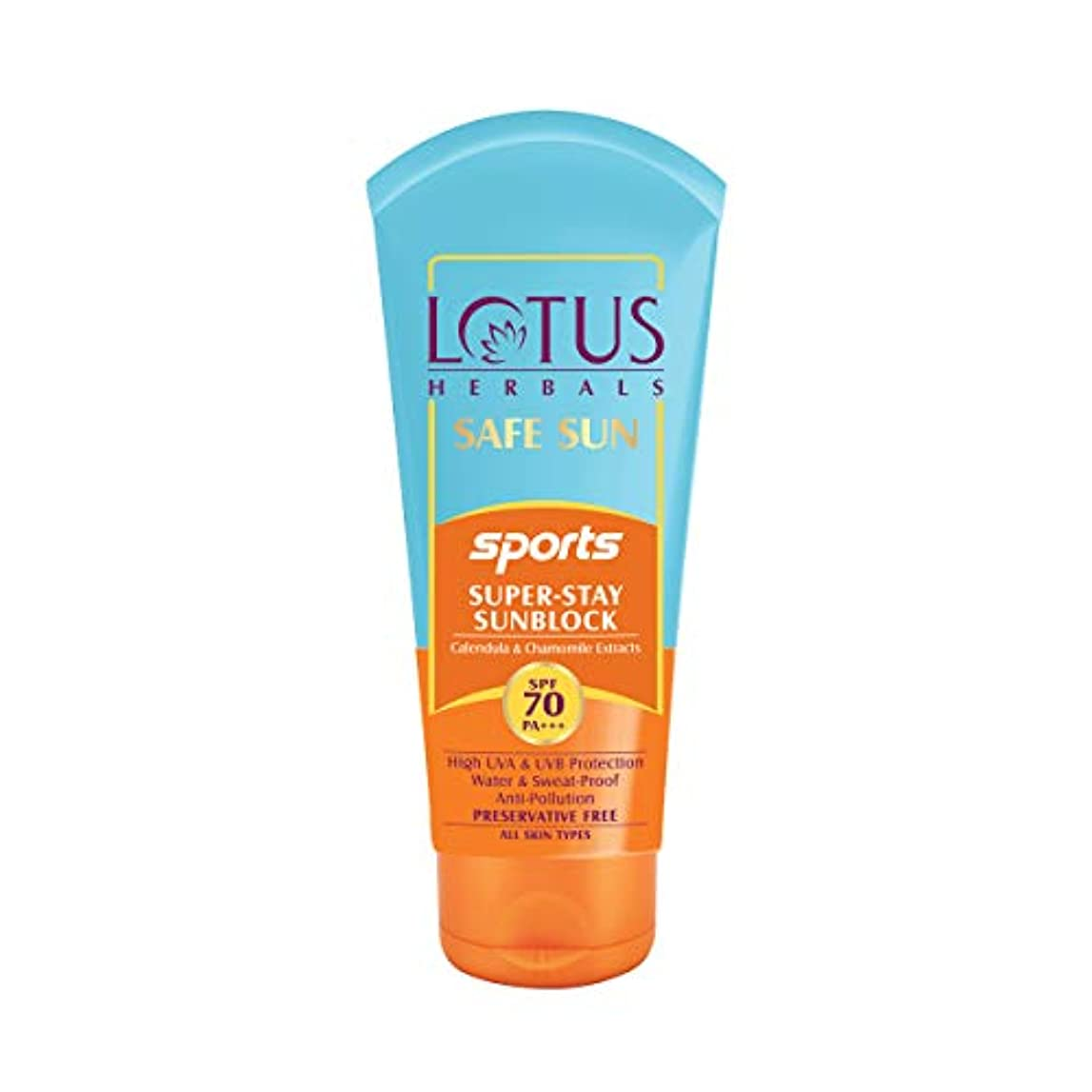 急襲説明する対話Lotus Herbals Safe Sun Sports Super-Stay Sunblock Spf 70 Pa+++, 80 g (Calendula and chamomile extracts)