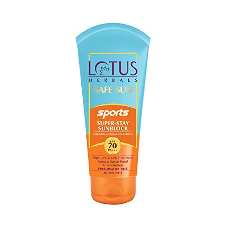フルーティー静かにサーフィンLotus Herbals Safe Sun Sports Super-Stay Sunblock Spf 70 Pa+++, 80 g (Calendula and chamomile extracts)