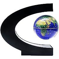 KINGMAS 地球儀 磁気浮上 浮遊 回転型 世界地図 LEDライト付き 点灯 球体 3色 電磁誘導マグネットグローブ 雰囲気作り 飾り用品 教学用(ブルー)