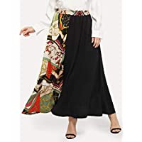 7094be7cb41 INFASHION Women s Black Casual Plus Contrast Chain Print Skirt