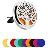 LURICO Car Air Freshener Aromatherapy Essential Oil Diffuser, Car Fragrance Diffuser Vent Clip, Aromatherapy Air Purifier for Air Vent Aromatherapy with 10 Felt Pads (Tree of Life)
