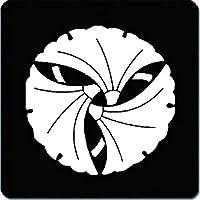 家紋 捺印マット 三つ組み合せ銀杏紋 11cm x 11cm KN11-1481W 白紋