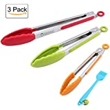 Stainless Steel Kitchen Tongs, Set of 3 - 7,9,12 Inch,Non-Stick Food Tongs with Silicone Tips for Barbeque, Cooking, Grilling Turner(multi color - Green, Red, Orange)