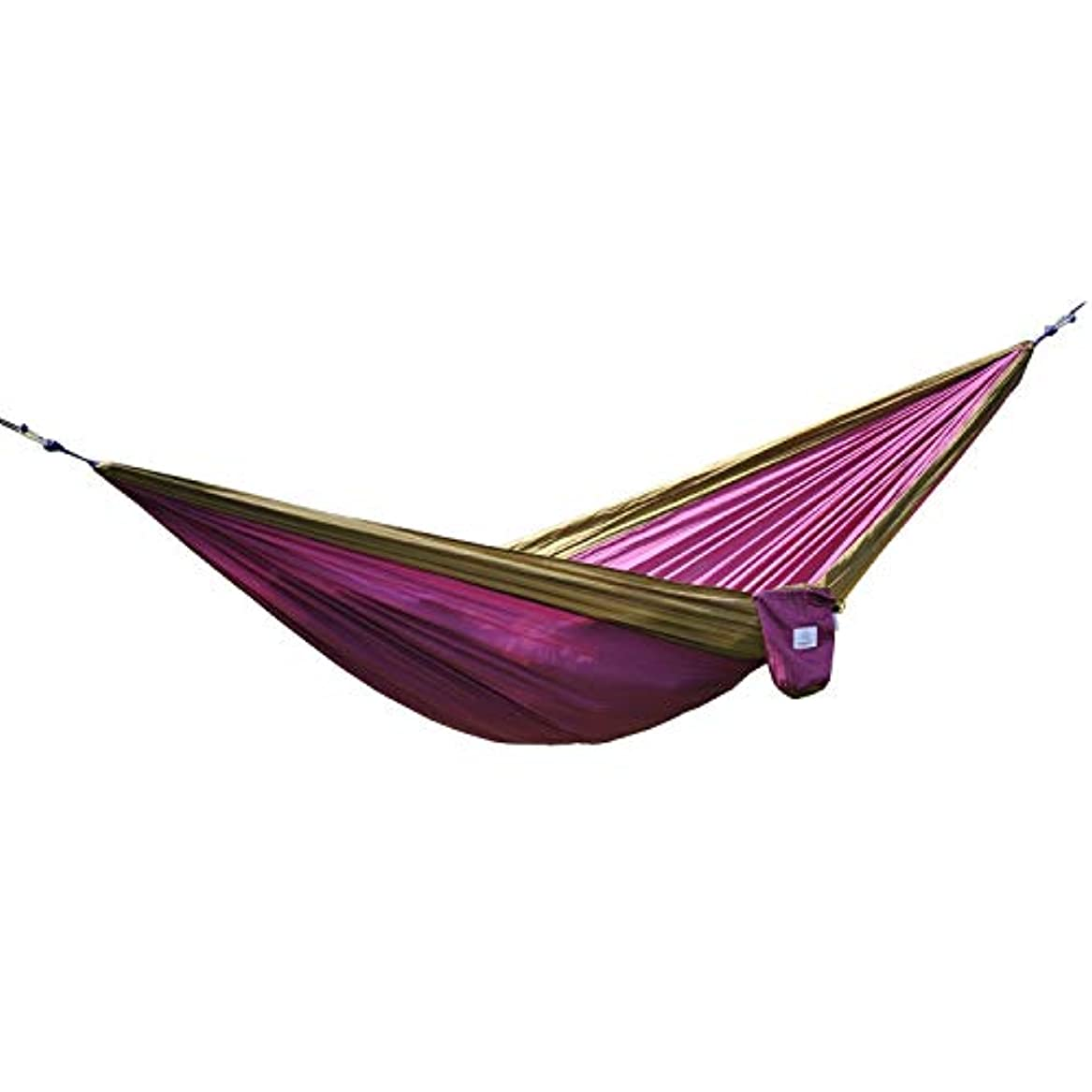アルバムストレッチ電話に出るOuterEQ Portable Parachute Camping Hammocks Lightweight Nylon Fabric Travel Hammock (Brown/Purple, 295cm x 198cm/Double) [並行輸入品]