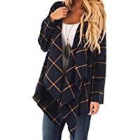 Tsmile Women Plaid Cardigan Casual Waterfall Shawl Collar Batwing Sleeve Baggy Open Front Asymmetric Sweaters Jacket