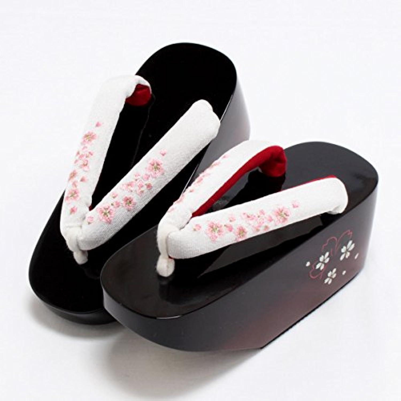 (キステ) kisste 舞妓さん風*花彫こっぽり下駄~桜~*フリーサイズ(23.0~24.5cm) 7-1-02189