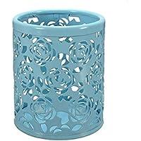 Saim Multi-Color Hollow Rose Flower Pattern Cylinder Pen Pencil Pot Holder Container Organizer