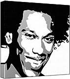 Jesse Lewis Iv - Pop Art Print (3-Colour Black, Grey & White) 50 x 50 x 2 cm Large Square Deep Box Canvas