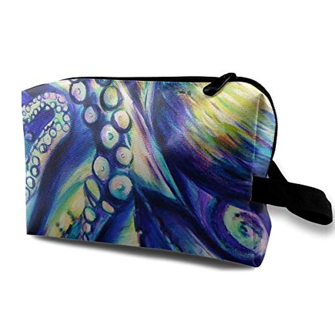 熟達した経験者電極Gigantic Colossal Octopus Abstract Sea Monster Watercolor 収納ポーチ 化粧ポーチ 大容量 軽量 耐久性 ハンドル付持ち運び便利。入れ 自宅?出張?旅行?アウトドア...