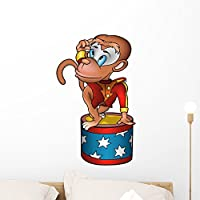 Wallmonkeys WM238137 Monkey Circus Performer - Detailed Colored Illustration Peel and Stick Wall Decals (24 in H x 15 in W) by Wallmonkeys Wall Decals