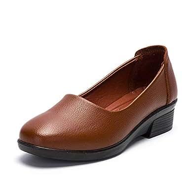 Nomioce レディースシューズ ナースシューズ レディース安全靴 パンプス ウォーキングシューズ 通勤 モカシン 軽量 疲れにくい 長時間立ち仕事 大きいサイズ 履きやすい  ブラウン 22.5cm