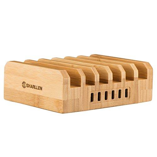 竹製 充電スタンド 収納ホルダー 6ポート USB充電ステーション 急速充電 同時充電可能 多機能 iPhone/iPad/Galaxy/Androidなど各機種対応 By Sharllen