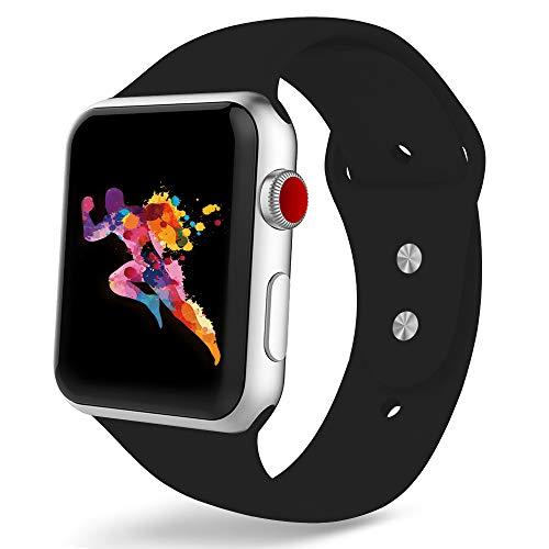 MORISHIKA コンパチブル apple watch バンド,スポーツバンド シリコン製柔らかい アップルウォッチバンド コンパチブルiWatch交換ベルト 耐衝撃 防汗 apple watch series 4/3/2/1に対応 (42mm/44mm,M/L,ブラック)
