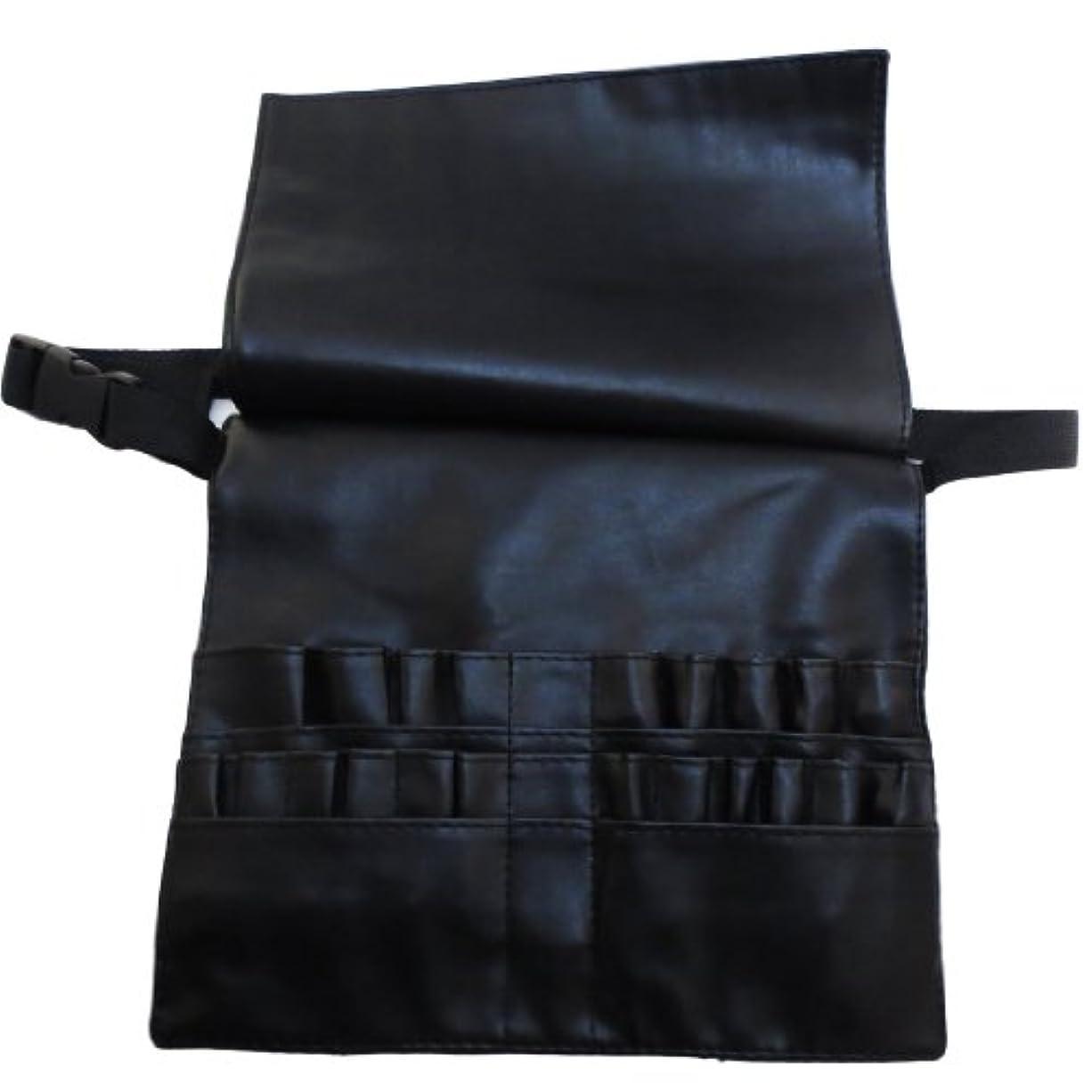 クリケット然とした高原[モノジー] MONOZY メイクブラシ ケース 蓋付き プロ用 腰巻き メイク バッグ カラビナ セット