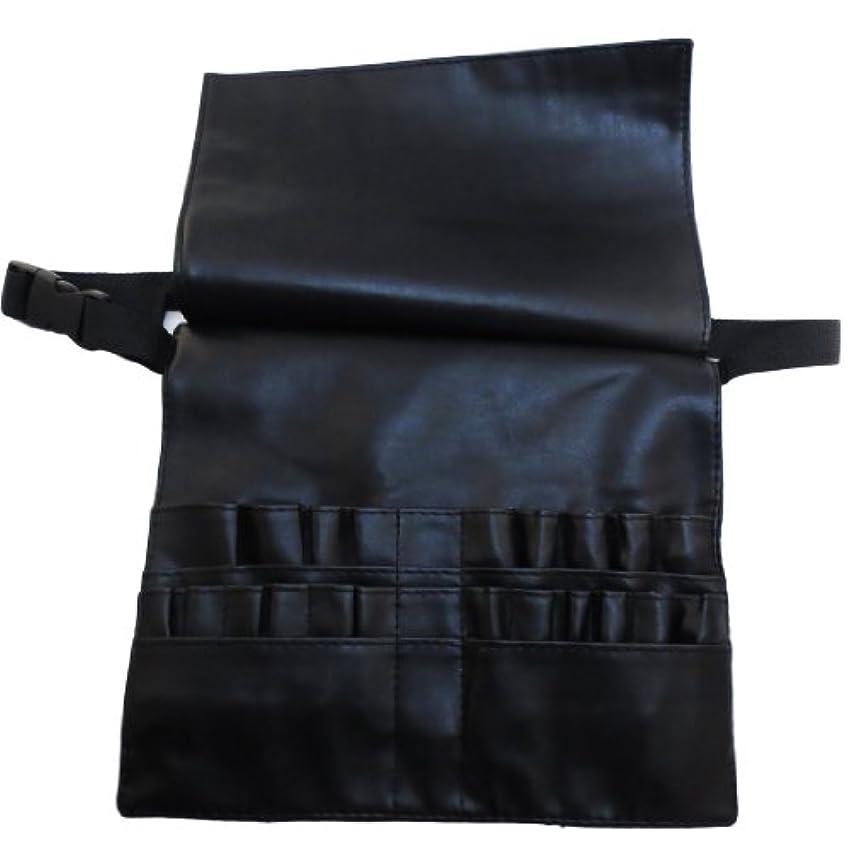 復讐エントリバス[モノジー] MONOZY メイクブラシ ケース 蓋付き プロ用 腰巻き メイク バッグ カラビナ セット