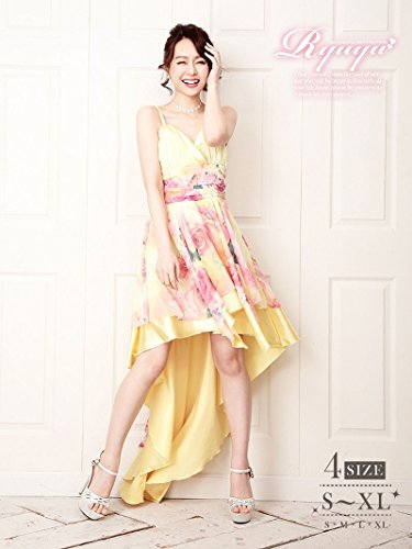 [해외]S 사이즈 추가! 처녀 티아 꼬리 잘라 전에 미니 롱 드레스 Ryuyu 류 유 나비 × 꽃 무늬 쉬폰 캐 롱 드레스 (S | M | L | XL) (옐로우) * 500510/S size added! Otome tiered tail cut before mini long dress Ryuyu Liu yu butterfly x floral chif...