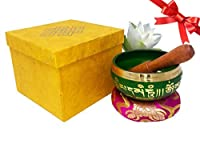 Tibetan Singing Bowl Set- Auspicious Buddhist Symbols Printed 4 Singing Bowl With Wooden Mallet & Cushion For Prayer/Meditation/Yoga/Chakra Healing/Mindfulness/Decoration (Green) [並行輸入品]