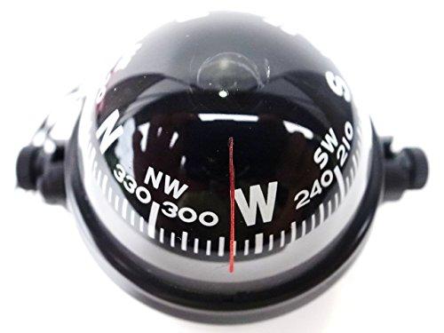 RoomClip商品情報 - マリン コンパス 12V ライト 付 羅針盤 方位 磁石 磁針 ボート ヨット 船舶 車 などにも サブ用方位磁針 クロス付き (黒)