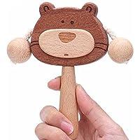 kingzhuoブナ&サンダルウッドCute Bear Rattle赤ちゃん新しいBorn Biteable noペイントソリッド木製保護教育Grasping Rattles for Children後3か月