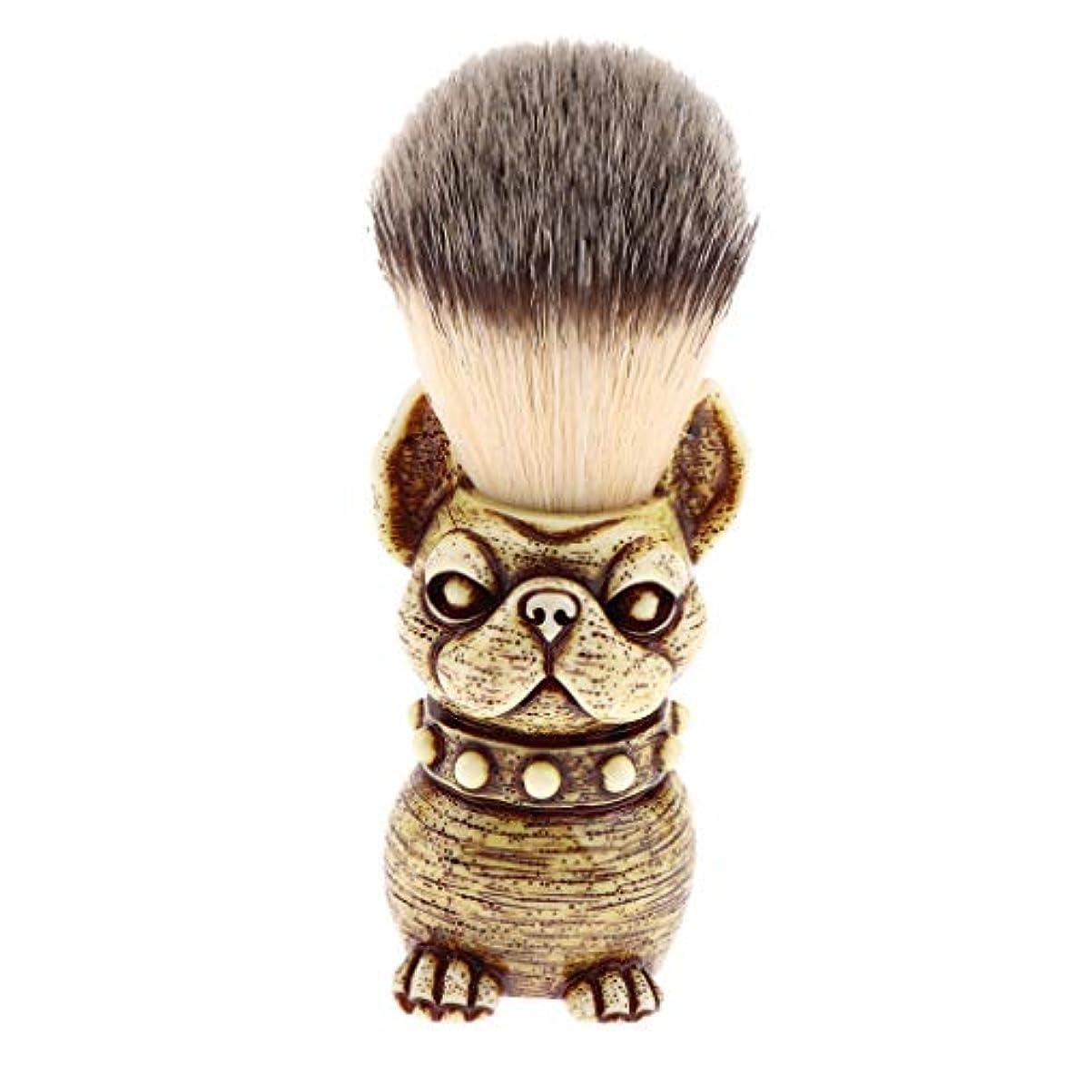 見る人満足メンタル人の理髪師の剃ること、子犬の形のための樹脂のハンドルアナグマの毛の剃るブラシ