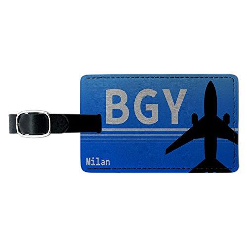 ミラノイタリア - Orio Al Serio (BGY) 空港 Code レクタングルレザー荷物IDタグ