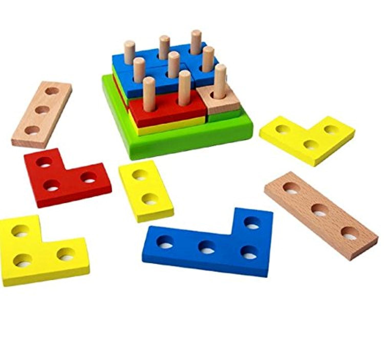 [kuro&jouet] ちょっとかわった楽しい形の 木製 立体 パズル 知育 教育 型合わせ はめ込み 幼児 男の子 女の子