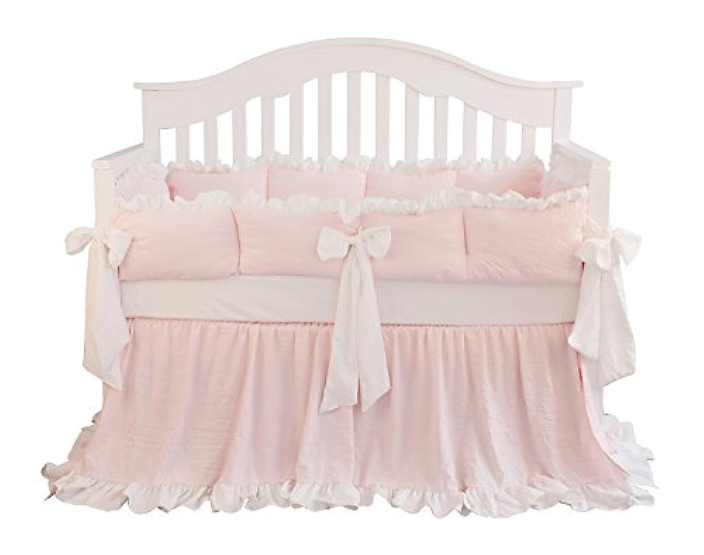 BlushコーラルピンクRuffleベビーベッド寝具セットベビーガールズ寝具毛布Nursery CribスカートセットベビーガールズCrib Bedding Sheet (ブラッシュピンク、3点セットバンパーなし)