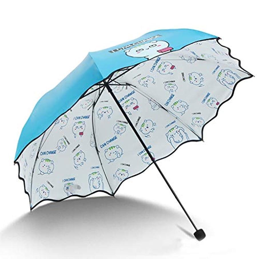 プレビュー性差別パウダー傘、自動開閉開閉トラベル傘強化換気および防風フレームポータブルコンパクト折りたたみ式軽量設計および高風抵抗(ピンク) (Color : Blue, Size : L)