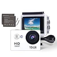 Yelinカメラアクションカメラ1080p防水スポーツカメラHDビデオカメラ水中カメラwith 2インチLCDスクリーン/ 170広角レンズ/ 2充電式電池