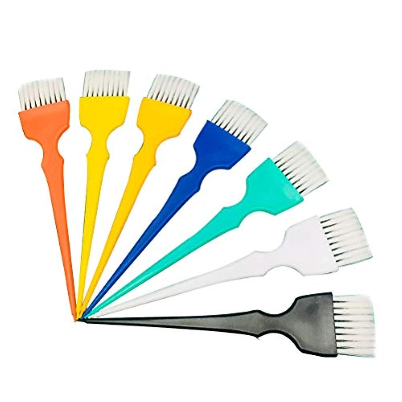 あいまい摂氏度粘液Beaupretty 7本染毛ブラシプラスチックソフトブラシヘアカラーブラシ美容院用(ランダムカラー)