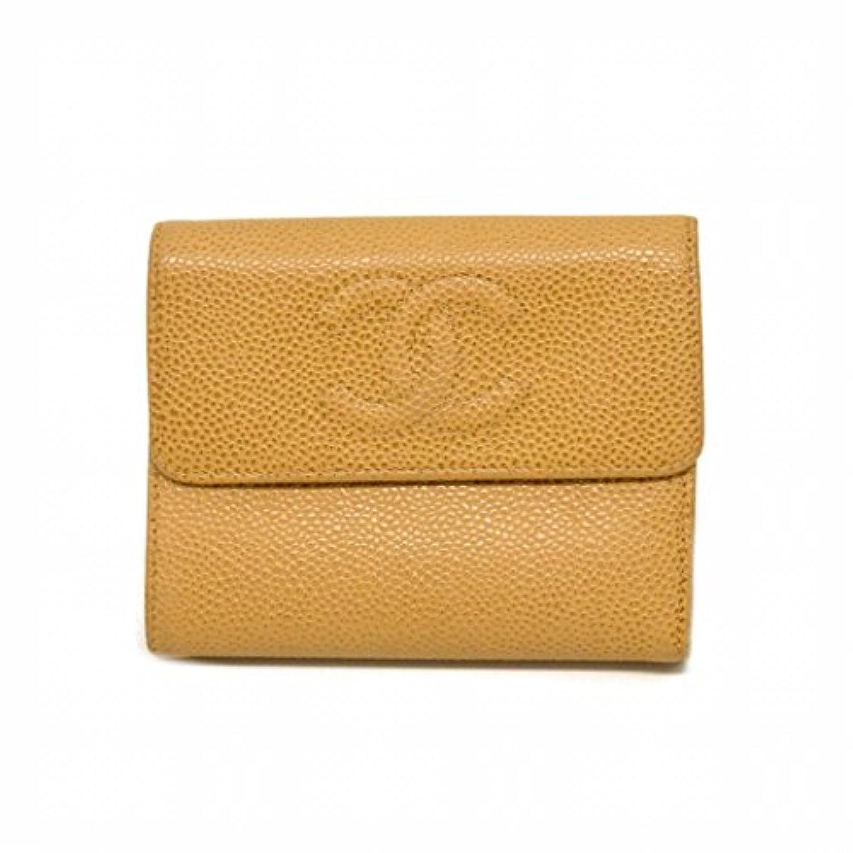 シャネル CHANEL ココマーク キャビアスキン レザー 三つ折 折財布 ベージュ ゴールド金具 中古