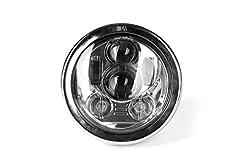 【HOZAN正規新品】5.75インチ 最新型 45W CREE製LED ヘッドライト Hi Lo切り替え 汎用 モートバイク用ヘッドライトシェル付き Headlight shell ハーレーバイクHarley-davidson対応 シルバー 1年間保証付き