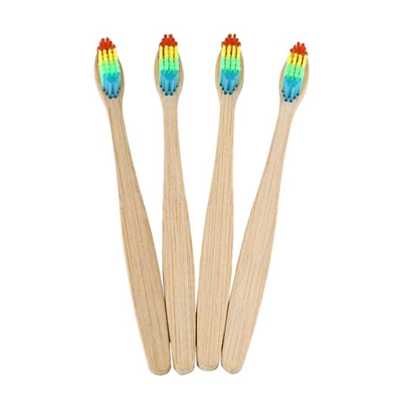 コンプライアンス涙櫛カラフルな髪+竹のハンドル歯ブラシ環境木製の虹竹の歯ブラシオーラルケアソフト剛毛ユニセックス - ウッドカラー+カラフル
