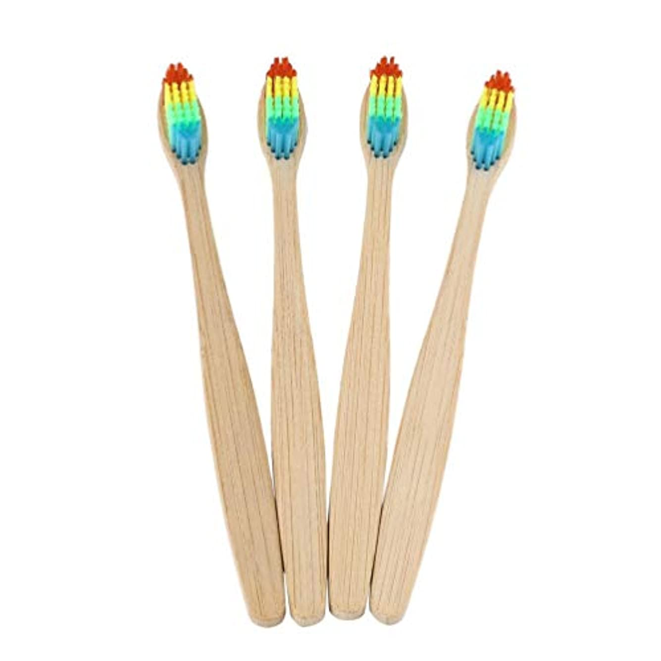 殺人流出戦艦カラフルな髪+竹のハンドル歯ブラシ環境木製の虹竹の歯ブラシオーラルケアソフト剛毛ユニセックス - ウッドカラー+カラフル