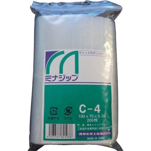 チャック付ポリエチレン袋 「ミナジップ」C-4 (200枚) MZC-4 1袋(200枚) 000-8231