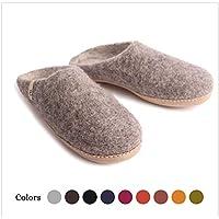 Egos House Slippers: 100% Natural Sheep Wool Handmade Slipper Slip On (US 10.5 EUR 44 UK 9.5, Gray)