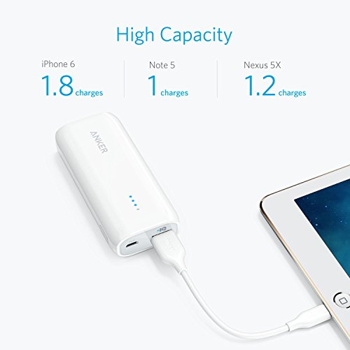 Anker Astro E1 5200mAh コンパクトモバイルバッテリー 急速充電可 iPhone&Android対応 ポーチ付 A1211022