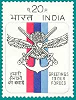 Greetings to Our Forces Forces Military Defence Emblem Flag Ashok Capital Enchor Coats of Arms Sword Wings 20 P