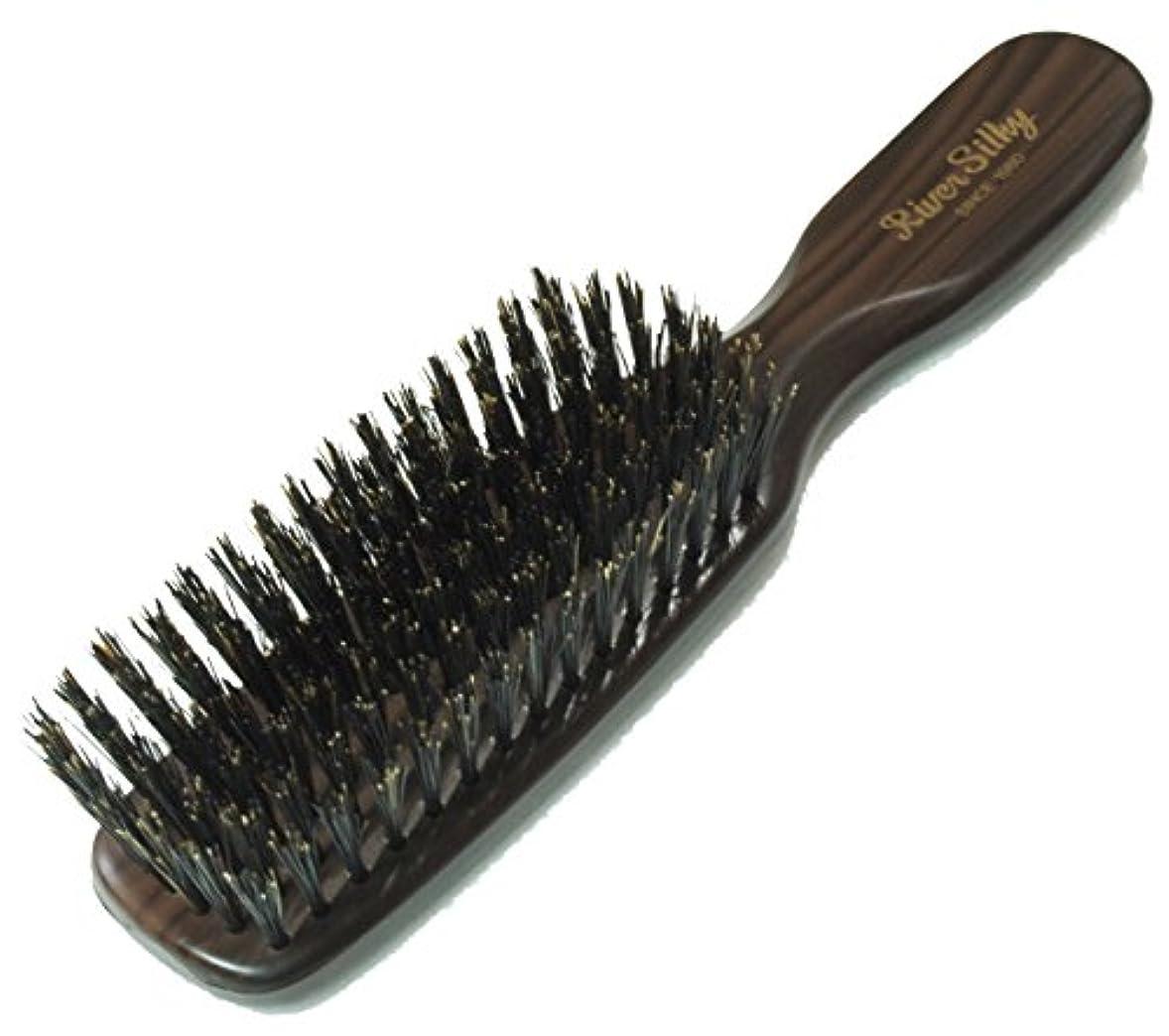 静電気を抑え髪を傷めにくい 木目調 猪毛 ヘア ブラシ 細植タイプ