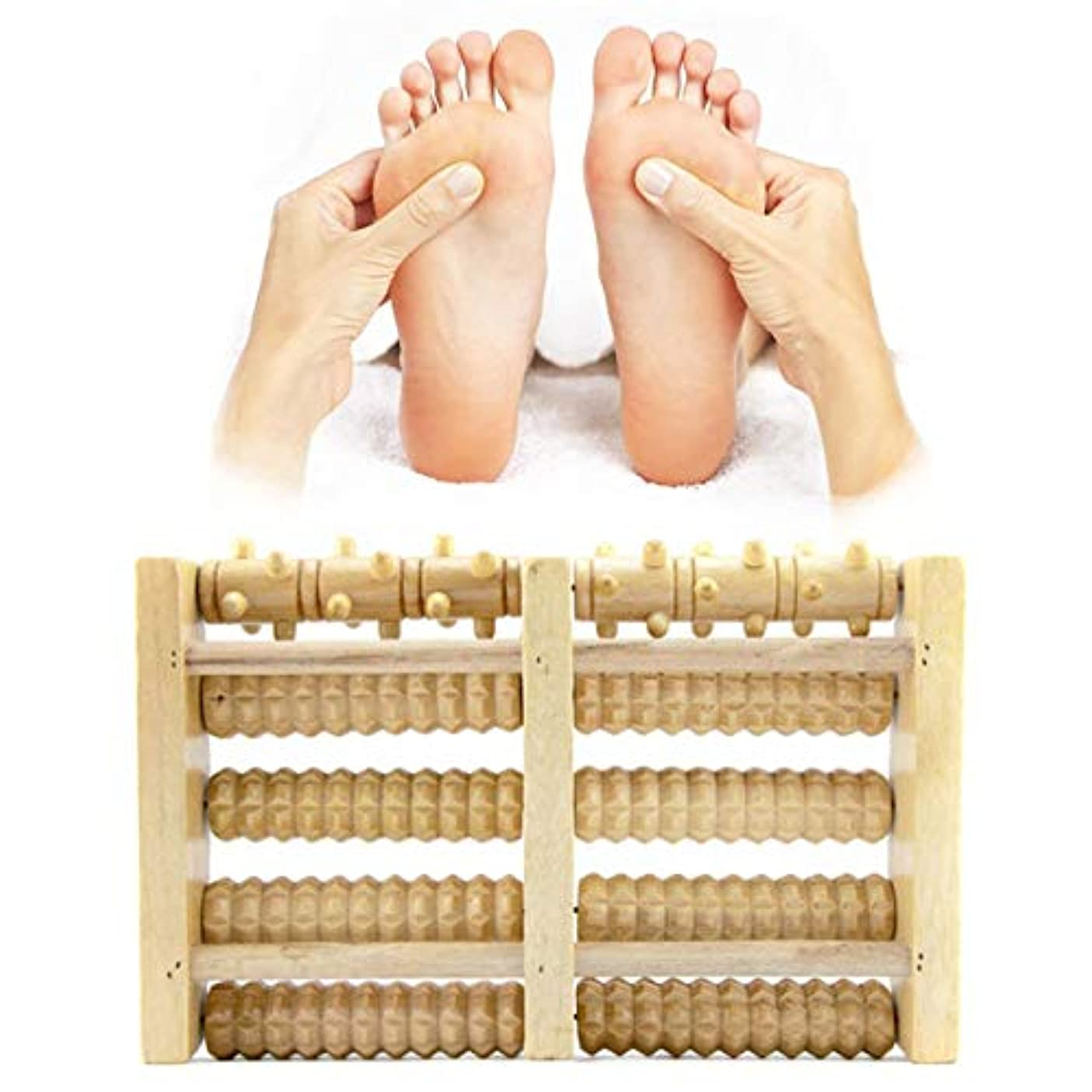 グリーンランド樹木トレーニングWooden Foot Massager 5 Rollers Reflexology Relax Stress Pain Relief Blood Circulation Promotion Foot Care Instrument