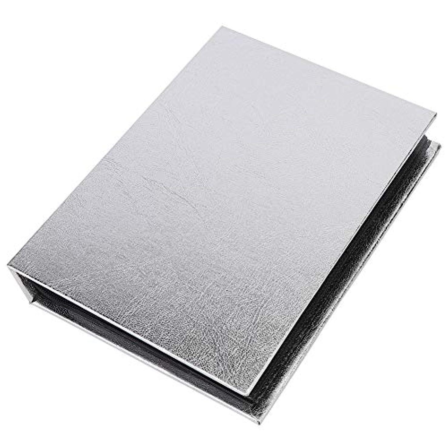 白いトリクル第三30ページパーフェクトネイルステッカーコレクションアルバム - ポータブル折りたたみ収納本オーガナイザー(ゴールド+シルバーオプション)(02)